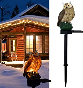 YXLM Owl Shape Solar Powered LED Lamp Outdoor,Garden Solar Lights Outdoor Waterproof Decorative, Energy Saving(Brown)