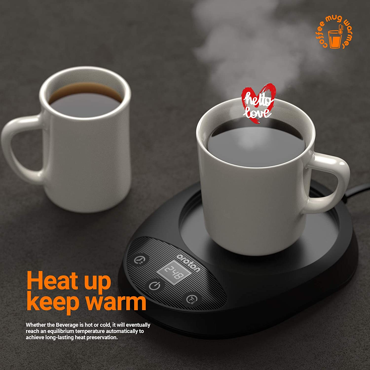 Christmas Gifts for Coffee Lovers. Black Electric Coffee Warmer with Auto Shut Off Milk Oroton Coffee Mug Warmer for Desk Formula Bottle 8-Hour Timer Shutdown for Warming and Heating Beverage 8-Temperature Setting and Candle Wax Tea