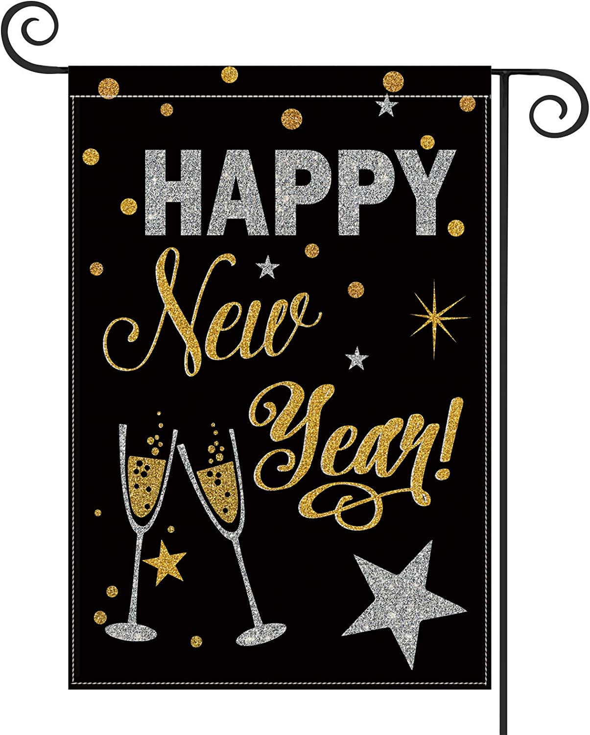 AVOIN Happy New Year Garden Flag Vertical Double Sized, Winter Holiday Star Party Yard Outdoor Decoration 12.5 x 18 Inch