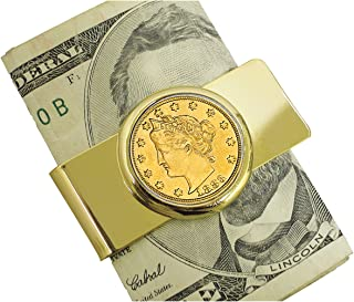 product image for Coin Money Clip - 1883 First-Year-of-Issue Liberty Racketeer Nickel Layered in Pure 24k Gold | Genuine Turquoise Stones | Brass Moneyclip Layered in Pure 24k Gold | Holds Currency, Credit Cards, Cash