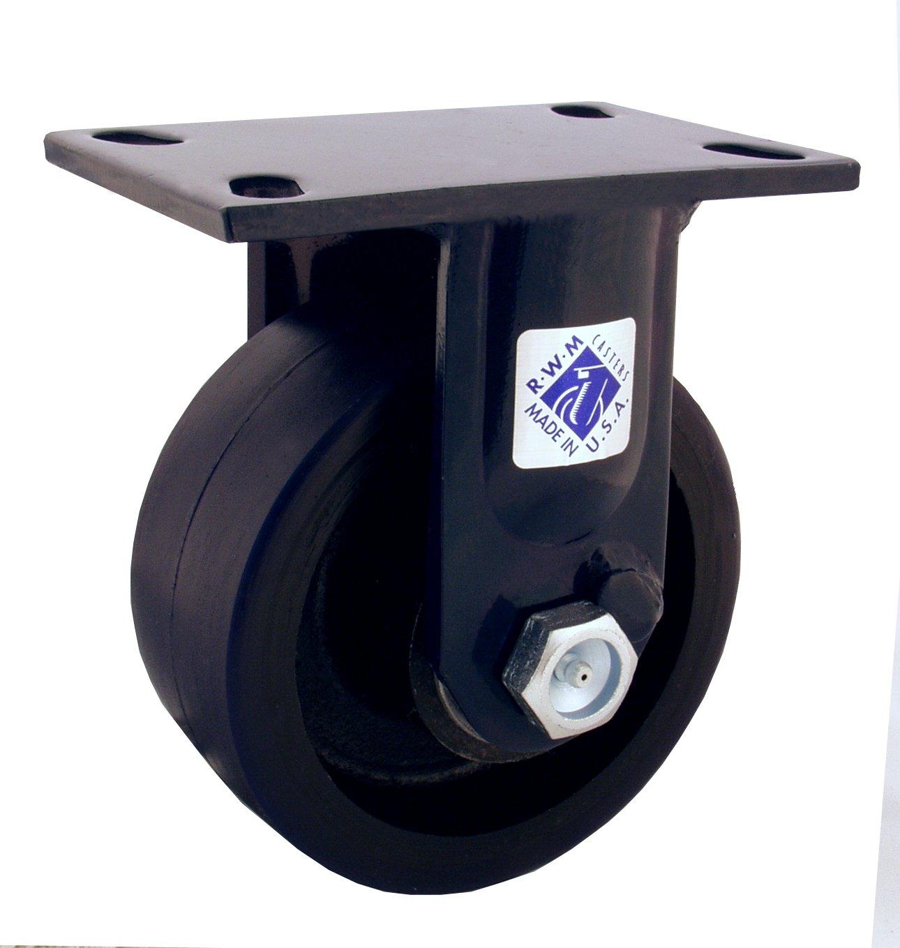 RWM Casters 75 Series Plate Caster, Rigid, Kingpinless, Forged Steel Wheel, Roller Bearing, 5000 lbs Capacity, 6'' Wheel Dia, 2-1/2'' Wheel Width, 7-1/2'' Mount Height, 6-1/2'' Plate Length, 4-1/2'' Plate Width