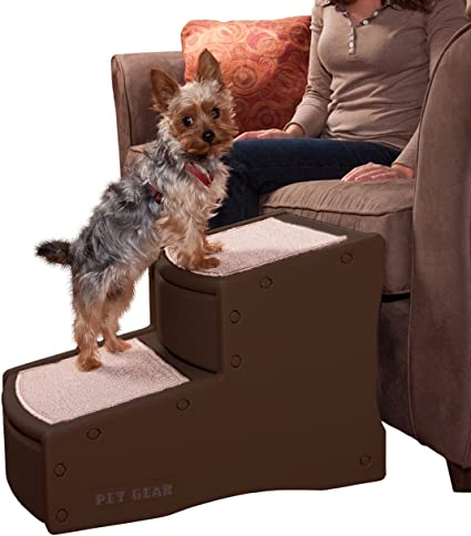 Freahap Folding Pets Stairs 2 Step Dog Cat Steps Ramp Ladder Indoor Pet Gear