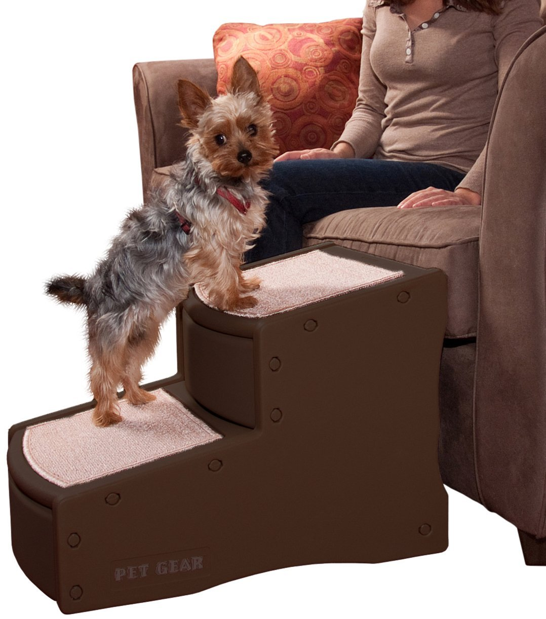 Pet Gear Easy Step II Pet Stairs, 2 Step for Cats/Dogs up to 150 Pounds, Portable, Removable Washable Carpet Tread, 2-Step, Chocolate by Pet Gear