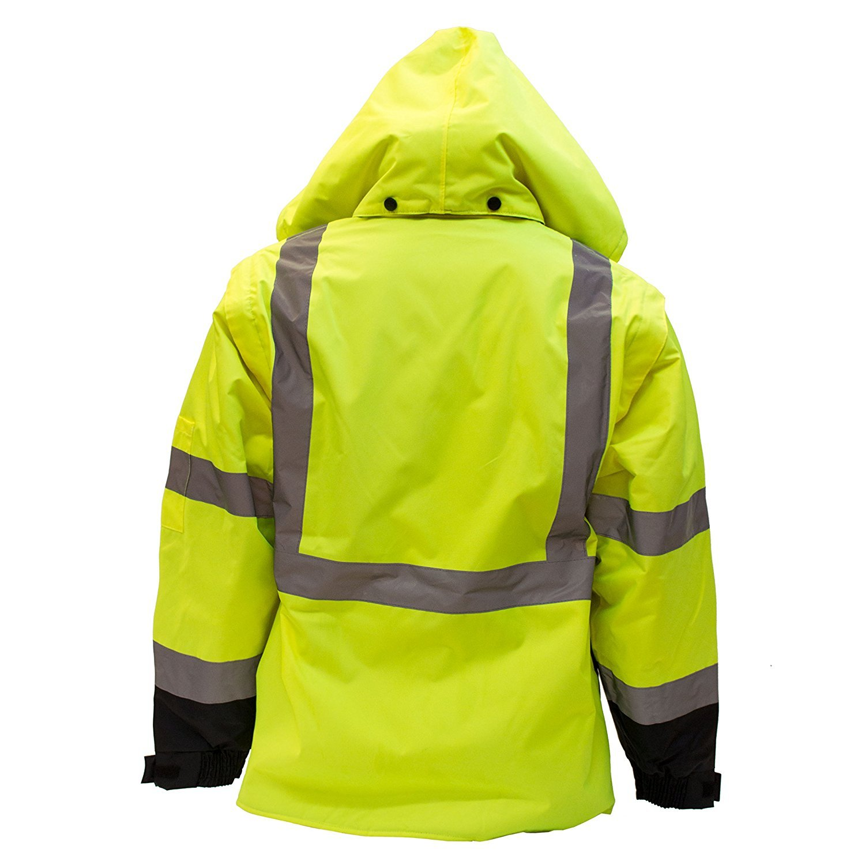 Troy Safety New York Hi-Viz Workwear Men's Ansi Class 3 High Visibility Safety Bomber Jacket with Zipper, PVC Pocket, Black Bottom, Qty 1 (Medium, Lime Green) by New York Hi-Viz Workwear (Image #2)