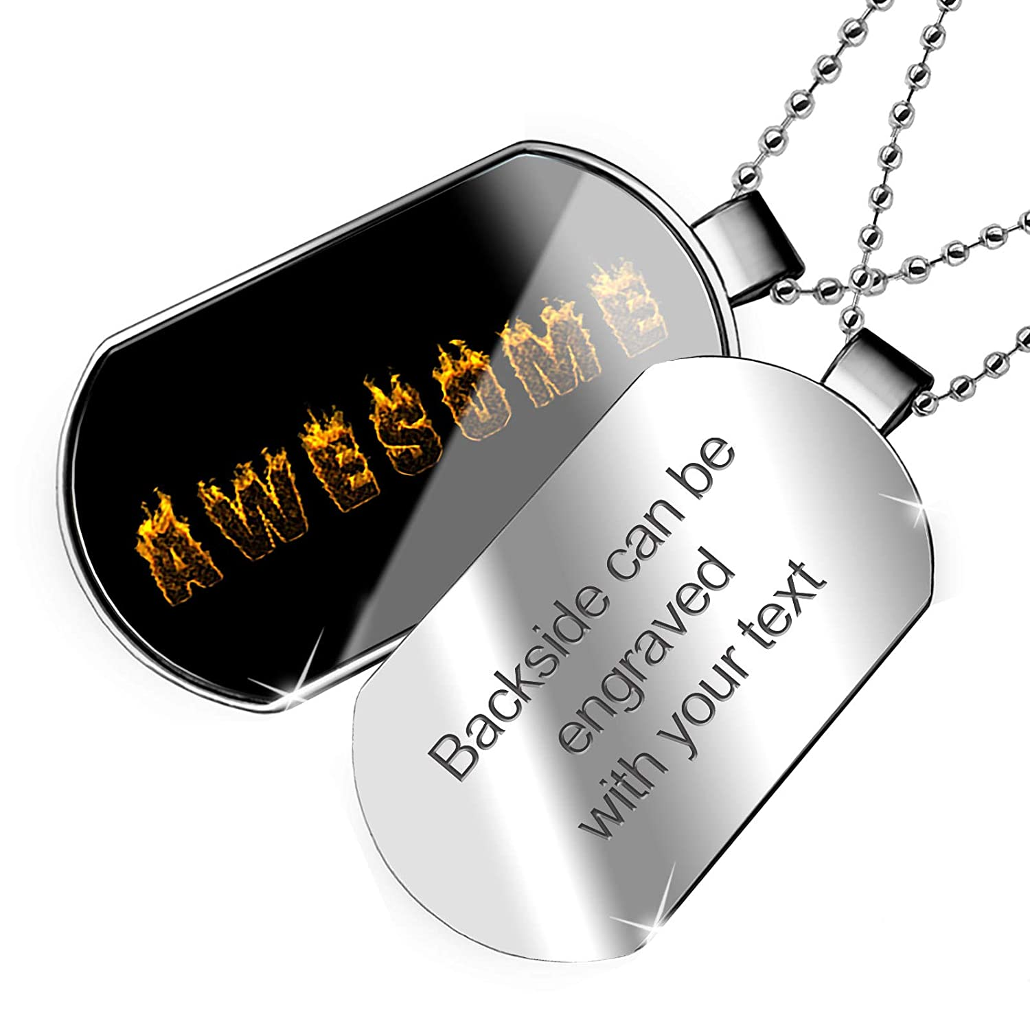NEONBLOND Personalized Name Engraved Awesome Fire Flames Hot Dogtag Necklace
