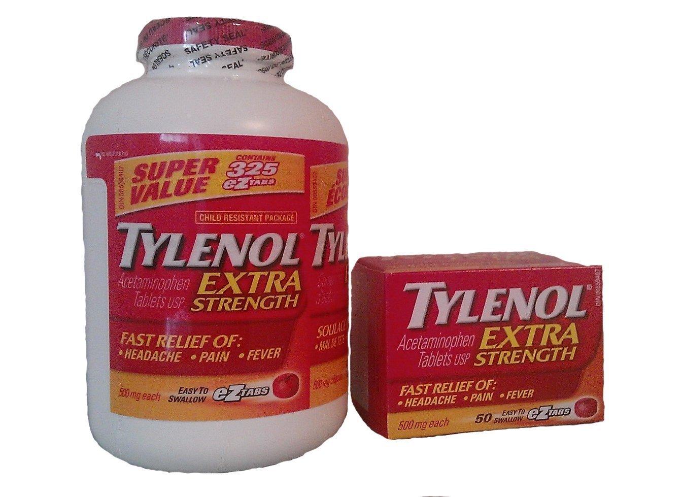 Tylenol Extra Strength 325+50 bonus eZ tabs , 500mg Acetaminophen (Econo Bottle)