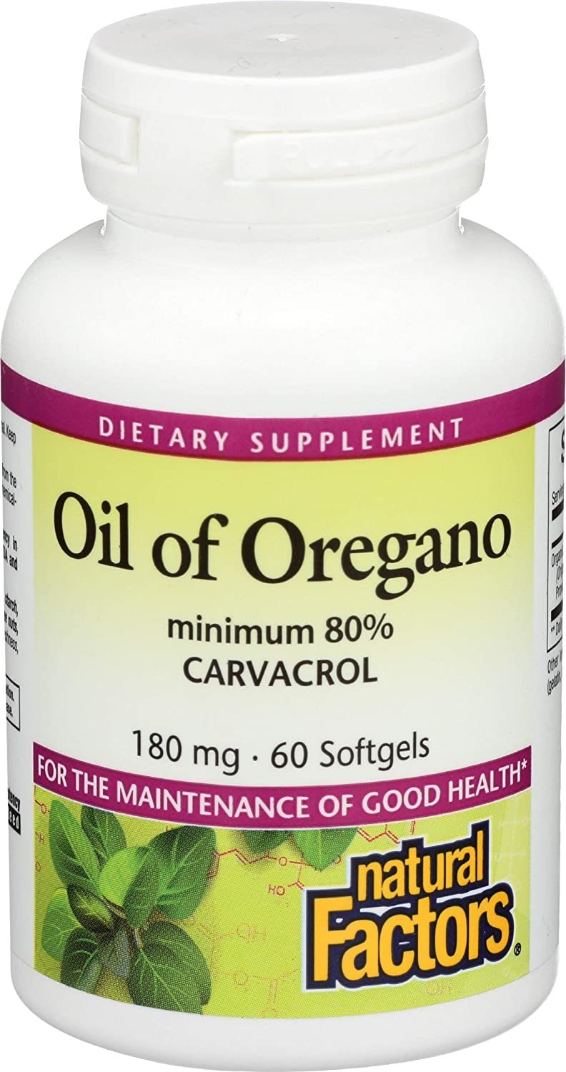 Natural Factors - Oil of Oregano 180mg, With Extra Virgin Olive Oil, 60 Count