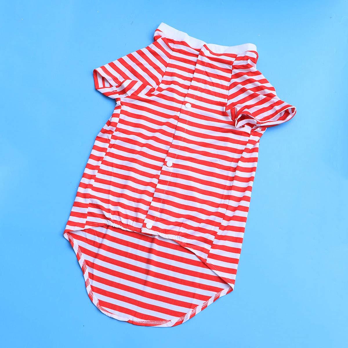 POPETPOP Grand Chien T Shirt Gilet ray/é V/êtements pour Medium /à Grand Chiens Rouge et Blanc Taille L