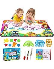 Phyles Doodle Tapis, Doodle Mat Enfant 87*57cm,Tapis de Dessin 6 Couleurs Loisir Créatif -Jouets éducatifs pour Enfants