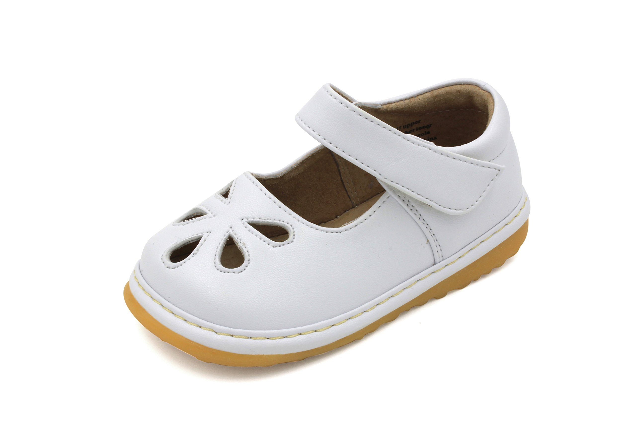 Toddler Shoes | Squeaky White Flower Punch Mary Jane Toddler Girl Shoes |  Premium Quality (
