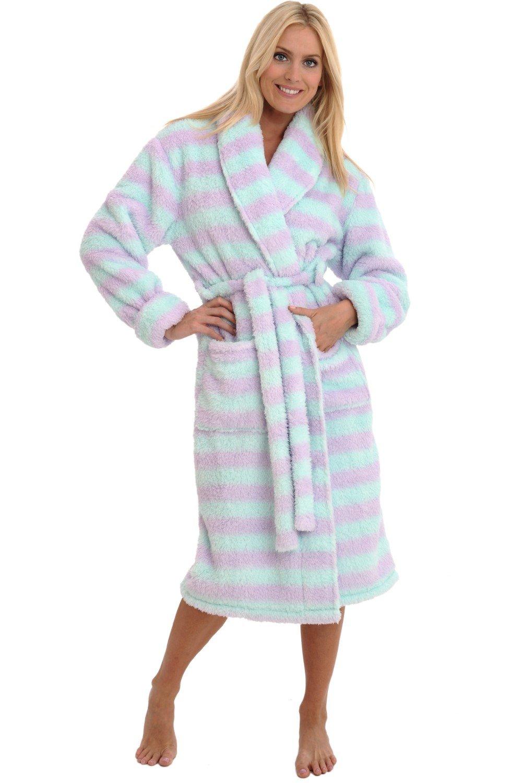 Alexander Del Rossa Womens Fleece Robe, Plush Microfiber Bathrobe, Large XL Green and Purple Striped (A0302P11XL)