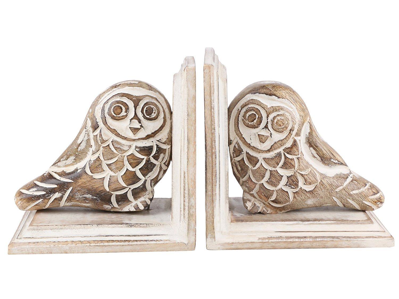 Sujetalibros de madera tallada a mano con dise/ño de b/úho para el d/ía del padre