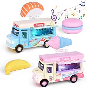 FUN LITTLE TOYS 2 Pack Pull Back Ice Cream Cars with Light and Sounds, Die-Cast Cars Gift for Toddler Girls and Boys