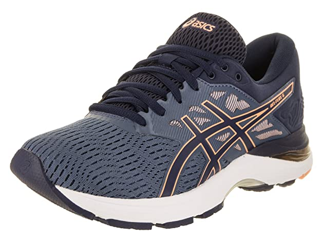 ASICS Womens Gel-Flux 5 Running Shoe, Blue/Canteloupe/Peacoat, Size 5