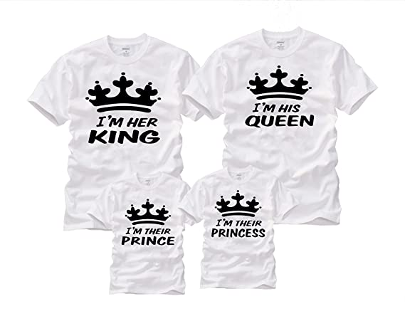 22e4d4f5f7 Wonder Labs I'm Her King I'm His Queen I'm Their Prince/Princess Matching  Family Funny Shirts T-Shirt at Amazon Women's Clothing store: