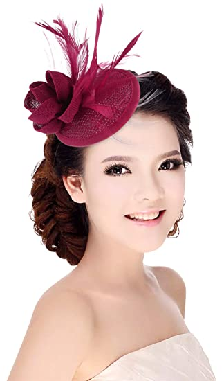 diseño elegante último diseño famosa marca de diseñador MARRYME Tocados de Pelo Fiesta Boda Mujer Sombrero con Plumas Diadema  Flores Fucsia Oscuro