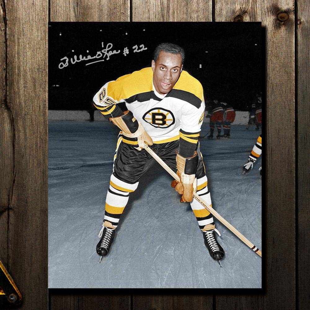 online store 4f4a1 33f0c Willie O'Ree Boston Bruins WHITE JERSEY Autographed 8x10 ...