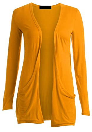 Ladies Women Boyfriend Open Cardigan with Pockets Mustard All ...