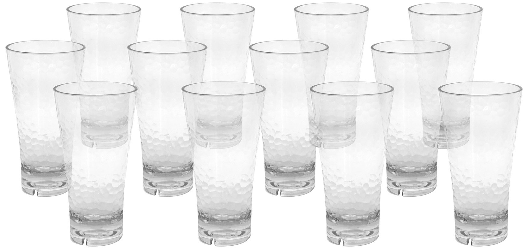 Front of the House AHB003CLT23 Drinkwise Hammered Highball, 7'' Height, 3.5'' Maximum Diameter, 18 oz, Polycarbonate, Clear, (Pack of 12)