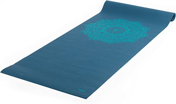 Tapete de Yoga PVC eco Estampa Mandala, indicado para iniciantes, yoga mat para pilates e ginástica 4.5mm 183cm x 60cm (petróleo, mandala-turquesa)