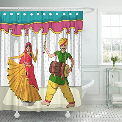 VaryHome Shower Curtain Rajasthan Design Of Colorful Rajasthani Puppet In  Indian Style Traditional Culture Waterproof Polyester