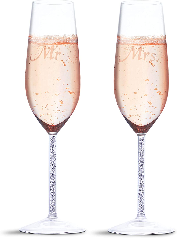 Juego de 2 Copas de champán para Boda – Mr y Mrs Bride Toasting – Juego de 2 Copas de Copa – 1.7 x 2.7 x 9.5 Pulgadas
