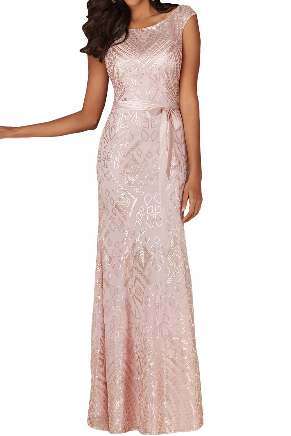 MARSEN Women's Sequins Backless Bridesmaid Dress Long Boat Neck Prom Gown Style 3 Size L