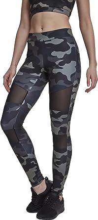 a74088308fb6e9 Urban Classics Ladies Camo Tech Mesh Sport Leggings, lange Damen  Fitnesshose mit halbtransparenten Einsätzen -