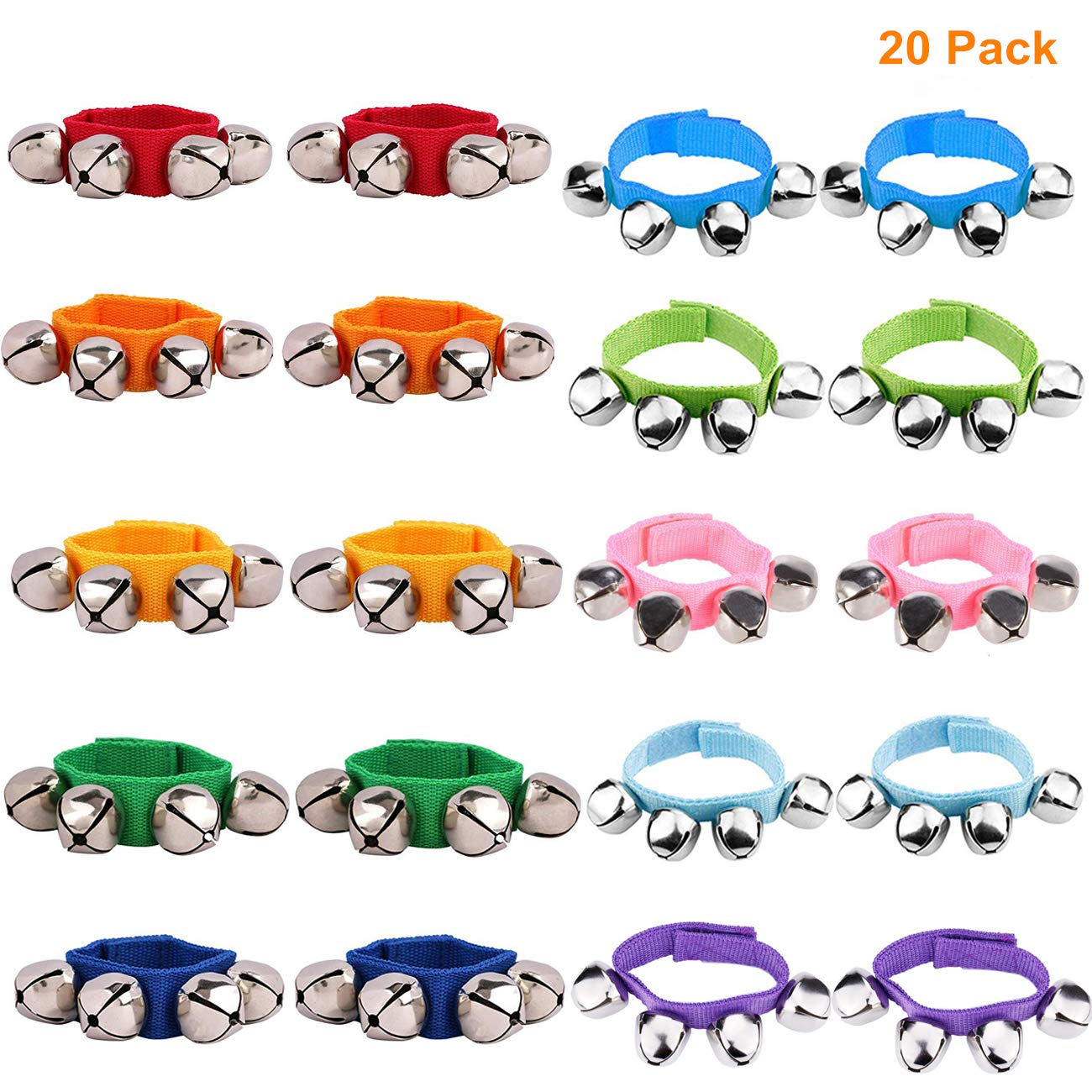 Band Wrist Bells for Kids Wrist Band Jingle Bells Musical Rhythm Toys 10 Colors Children's Musical Instruments for School 20 Pack