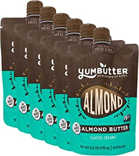 product image for Almond Butter No Sugar Added by Yumbutter, Gluten Free, Vegan, Paleo, Keto, Non-GMO, 6.2oz Pouch (Pack of 6)