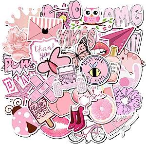 Stickers for Water Bottles, Hydro Flask Sticker Pack, Trendy VSCO Vinyl Aesthetic Stickers for Laptop Hydroflasks Skateboard, Waterproof Cool Cute Sticker for Teens Girls Adult (Pink)