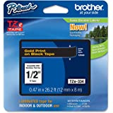 Brother TZE-334 Gold on Black 1/2 Label Tape Cartridge 0.47in x 26.2ft