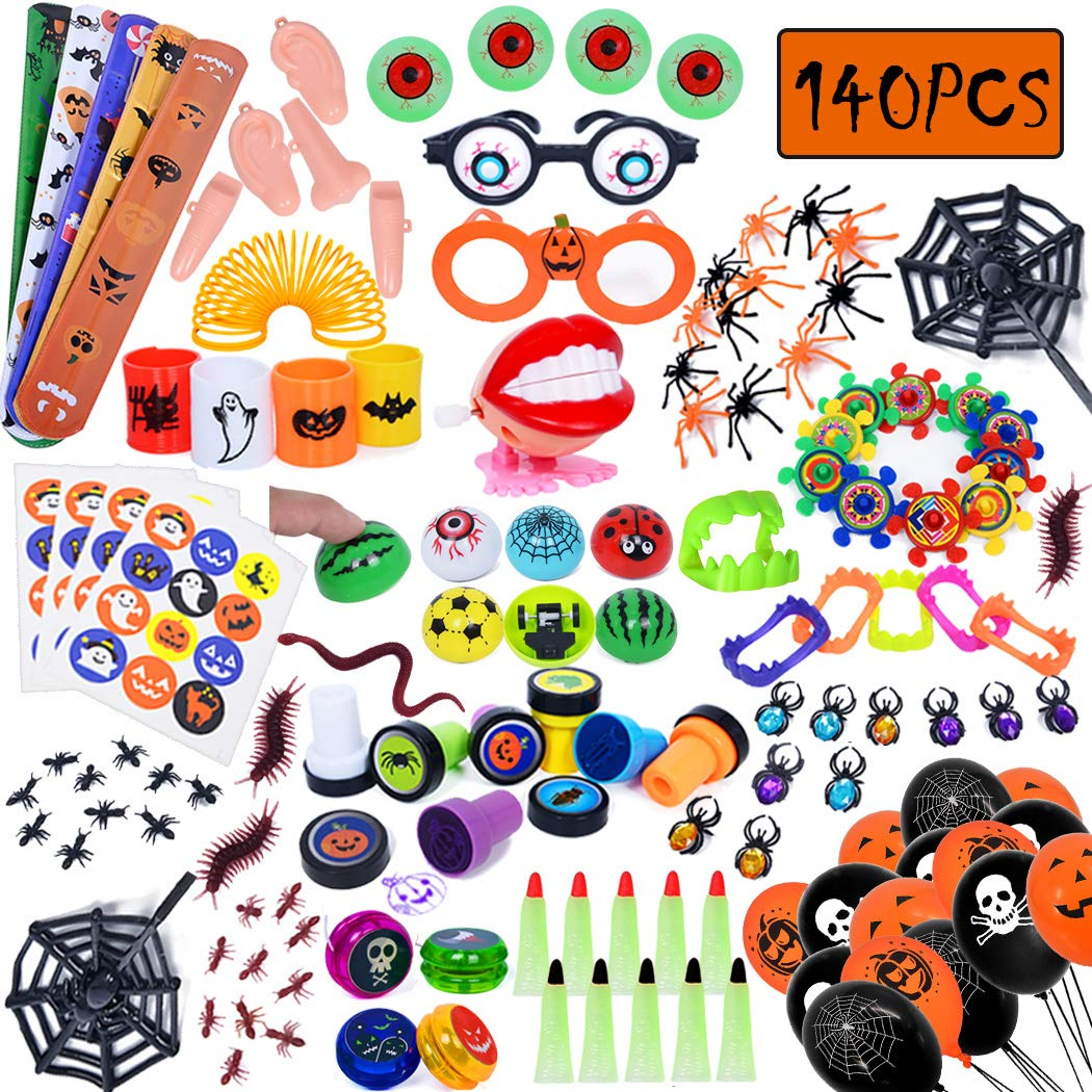 Total 140pc/set Halloween Toys Assortment for Halloween Party Favors, School Classroom Rewards, Trick or Treating, Halloween Miniatures, Halloween Prizes by iBayda