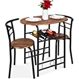 Best Choice Products 3-Piece Wooden Round Table & Chair Set for Kitchen, Dining Room, Compact Space w/Steel Frame, Built-in W