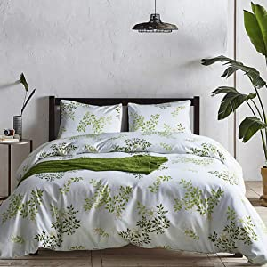 CoutureBridal Plant Duvet Cover Sets Queen Size Green Leaves Print Lightweight Microfiber Bedding Sets Nature Comforter Cover Zipper Closure,3 Pieces Bedding Collection