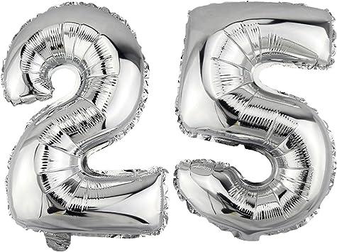 XL Helium Folienballon Silber Zahlen vier Transparent Zahl 4 Geburtstag Geschenk