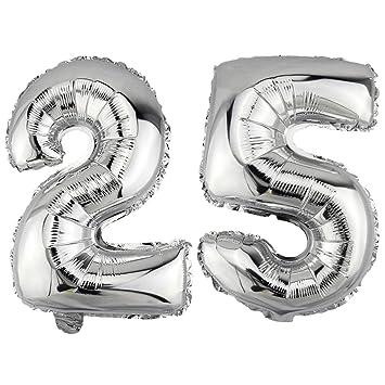 DekoRex® 25 Globo en argentado 80cm de Alto decoración cumpleaños para Aire número