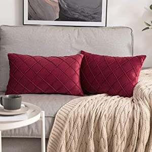 MIULEE Velvet Throw Pillow Covers Decorative Rectangular Soft Solid Pillowcases Plaid 12 X 20 inch Wine Red Couch Pillows Set of 2 Cushion Covers with Invisible Zipper for Sofa Living Room