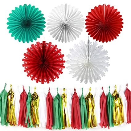 Amazon Com Sunbeauty Red White Green Tissue Paper Fans