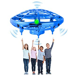 Flying Toy Mini Drone for Kid, Hand Controlled Flying Ball with LED Light, UFO Helicopter with 2 Speed, Easy Indoor Outdoor Levitation Drone with 360° Rotating Gift for Teenager Boy Girl