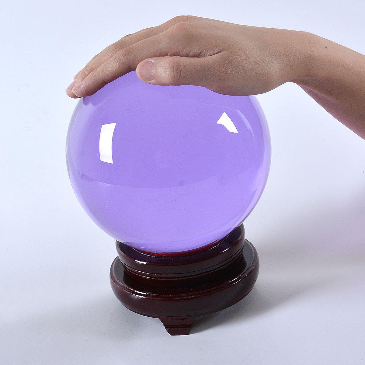 多色透明 水晶玉 150mm クリスタルボール 装飾品 【木製台ギフトボックス】 (紫色) B01N4DFRKQ 紫色 紫色