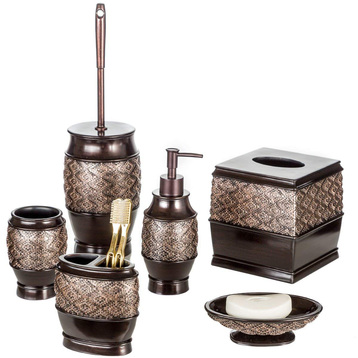 Dublin 6-Piece Bathroom Accessories Set, Includes Decorative Countertop Soap Dispenser, Soap Dish, Tumbler, Toothbrush Holder, Tissue Box Cover and Toilet Bowl Brush (Brown) Creative Scents