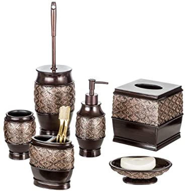 Dublin 6-Piece Bathroom Accessories Set, Includes Decorative Countertop Soap Dispenser, Soap Dish, Tumbler, Toothbrush Holder, Tissue Box Cover and Toilet Bowl Brush (Brown)