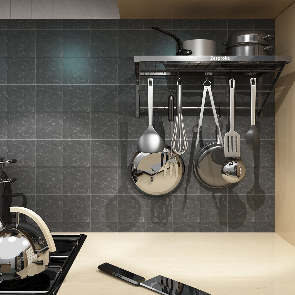 ZESPROKA Kitchen Wall Pot Pan Rack,With 10 Hooks,Black by ZESPROKA (Image #5)