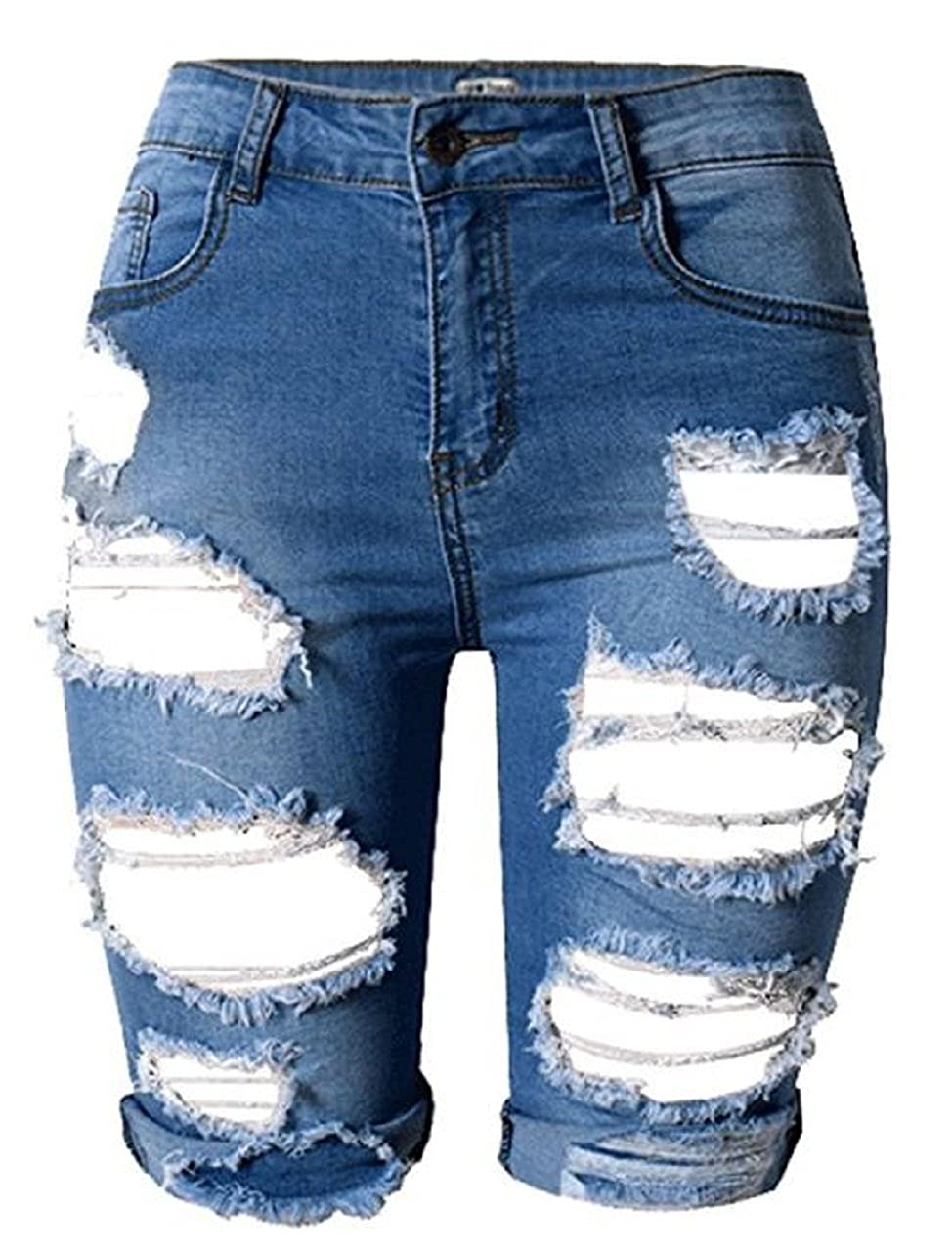 cee8cf4e54 MFWAREHOUSE Womens High Waist Knee Length Ripped Distressed Denim Shorts  Summer Casual Denim Ripped Destroyed Bermuda Shorts Jeans Pants (Navy, ...