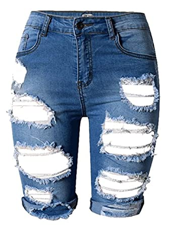 04cd432df2 MFWAREHOUSE Womens High Waist Knee Length Ripped Distressed Denim Shorts  Summer Casual Denim Ripped Destroyed Bermuda Shorts Jeans Pants (Navy, ...