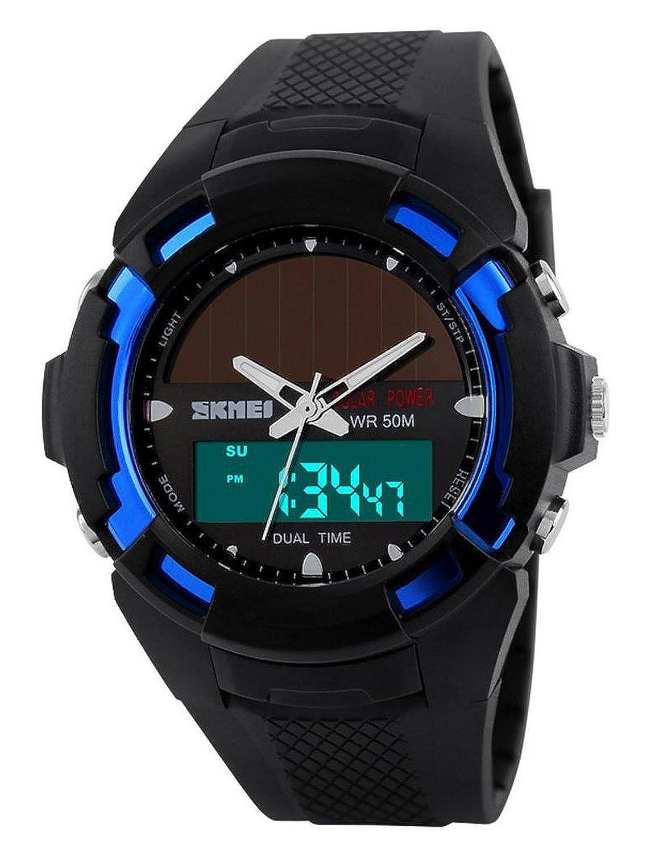 carlien Hombres Reloj Solar Atómica reloj deportivo 2 Zona de tiempo digital led cuarzo hombres Casual relojes: skmei: Amazon.es: Relojes