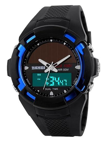 carlien Hombres Reloj Solar Atómica reloj deportivo 2 Zona de tiempo digital led cuarzo hombres Casual