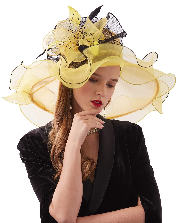 ORIDOOR Women Organza Fascinator Church Kentucky Derby Hat Floral Tea Party Wedding Hat Yellow