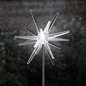 Exhart Solar Star Garden Light Stake – Crystal Star Metal Garden Stake w/Solar Panel, Acrylic Outdoor Crystal Décor, Garden Décor, Crystal Star Stake – Led Accent Lights for Yard/Garden/Patio 6 x 6 x